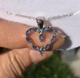 # 1 - Montana Yogo Sapphire Marquise Heart Pendant Necklace 14K White Gold