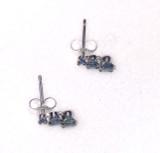 Montana Sapphire 3 Stone 4 Prong Post Earrings 1 ct total