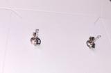 Montana Yogo Sapphire Princess Cut (Square) Stud Earrings .34 ct 14K White Gold
