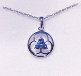 Montana Yogo Sapphire Tri in Circle Earrings Sterling Silver matching pendant.