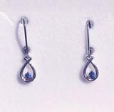 Montana Yogo Sapphire Round in Pear Shape Leverback Dangle Earrings Sterling Silver