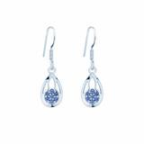 # 43 - Montana Yogo  Sapphire Flower in Pear Dangle Earrings Sterling Silver
