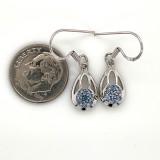 Montana Yogo Sapphire Flower in Pear Dangle Earrings Sterling Silver