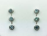 Montana Sapphire 3 Stone Bezel Set Earrings