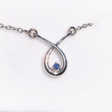 Montana Yogo Sapphire Round in Pear Crossover Necklace Sterling Silver