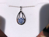 Montana Yogo Sapphire Flower in Pear Pendant Necklace Sterling
