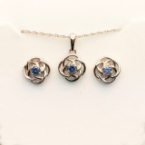 Montana Sapphire Loveknot Pendant Necklace in Sterling Silver