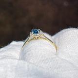 # 35 - Montana Sapphire Halo Diamond Ring 10K Yellow Gold