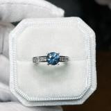 Montana Sapphire Princess Cut Diamond Ring 14K White Gold