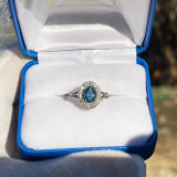 Montana Sapphire Oval Halo Diamond Ring 14K White Gold