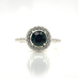 Montana Sapphire Halo Sterling Silver & CZ Ring