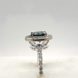 # 42 - Montana Sapphire Halo Sterling Silver & CZ Ring
