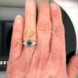 Montana Sapphire & Trillion Diamond Ring 14K White Gold