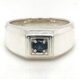 Montana Sapphire Men's Sterling Silver Solitaire Ring