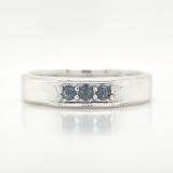 Montana Yogo Sapphire 3 Stone Mens Sterling Silver Ring