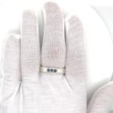 #128- Montana Yogo Sapphire 3 Stone Mens Sterling Silver Ring