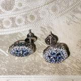 Montana Yogo Sapphire Flower Cluster Screwback Earrings 2 cts 14K White Gold