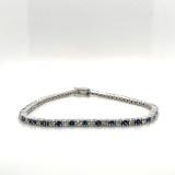 Montana Yogo Sapphire & Diamond Line Bracelet 14K White Gold