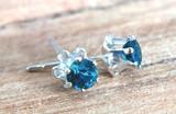 Montana Sapphire 6 Prong Buttercup Earrings Sterling Silver includes earring backs