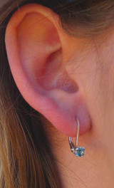 Montana sapphire leverback earrings 4mm on ear