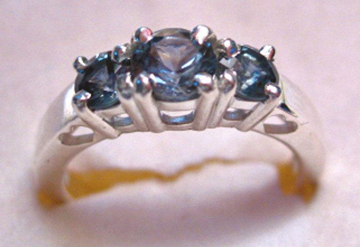 Montana sapphire 3 stone ring sterling silver