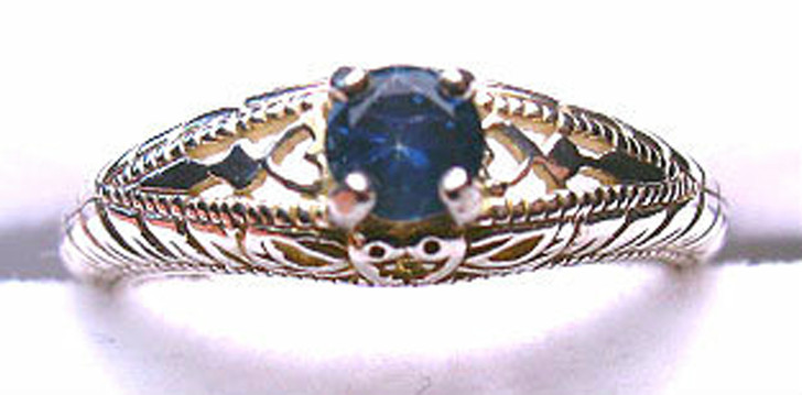 Montana Sapphire Antique Style Ring 4mm