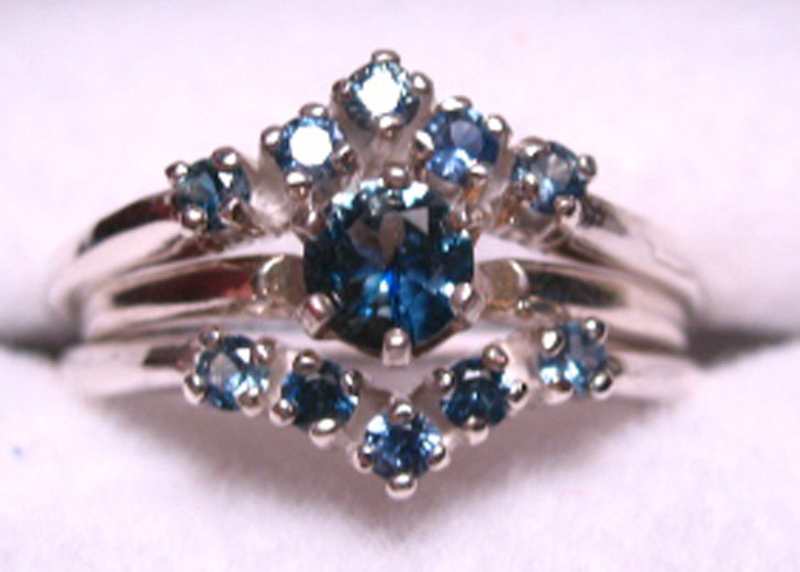 Montana Sapphire Ring Guard Wrap - 2 Rings Shown with 6 prong solitaire ring (not included)