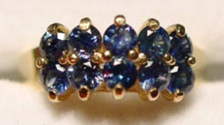 Montana Sapphire 10 Stone Step Cluster Ring 14K gold blue