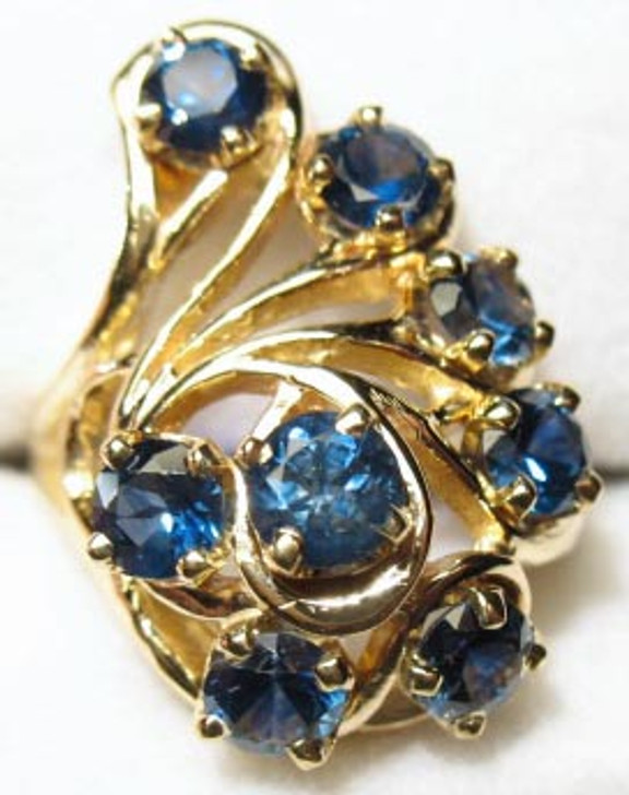 Montana sapphire peacock ring 14K gold blue