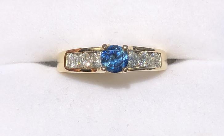 Montana Sapphire and Diamond Ring 14K Gold