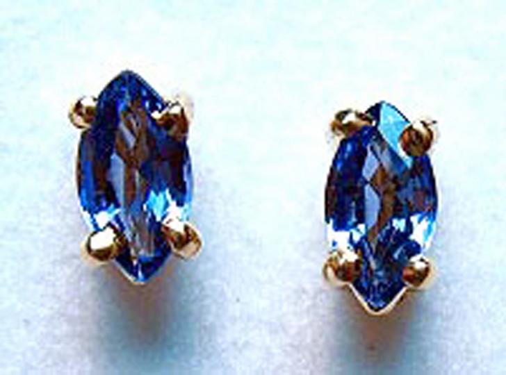 Montana Yogo sapphire marquise earrings 4 prong 5x2.5mm (.32 ct total)