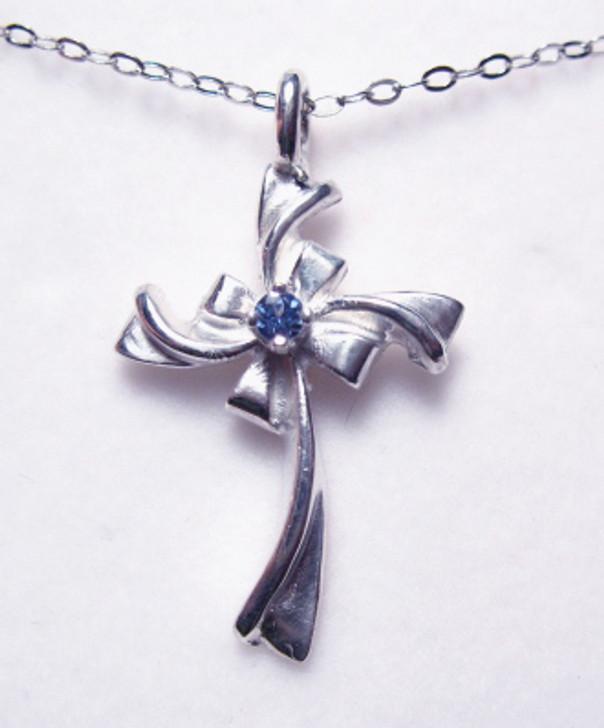 #24 - Montana Yogo Sapphire Cross Necklace Pendant