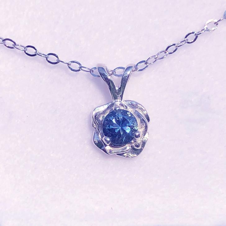 Montana Yogo sapphire rose pendant necklace