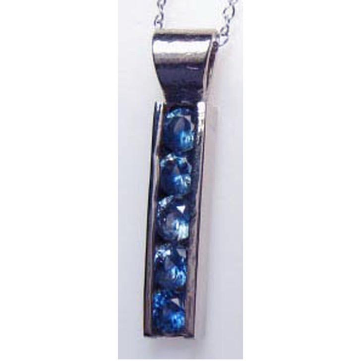 Montana Yogo sapphire 5 stone channel bar pendant