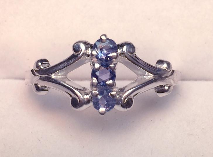 Montana Yogo Sapphire 3 Stone Open Swirl Shank Ring Sterling Silver