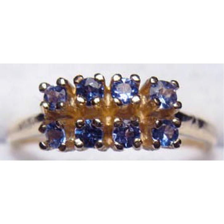 Montana Yogo Sapphire 8 Stone Double Row Ring