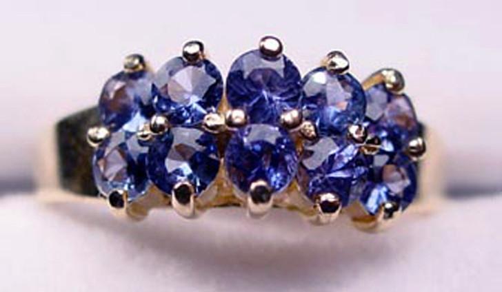Montana Yogo Sapphire 10 Stone Step Cluster Ring