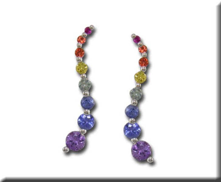 Rainbow Sapphire Multi Color Journey Earrings 14K White Gold