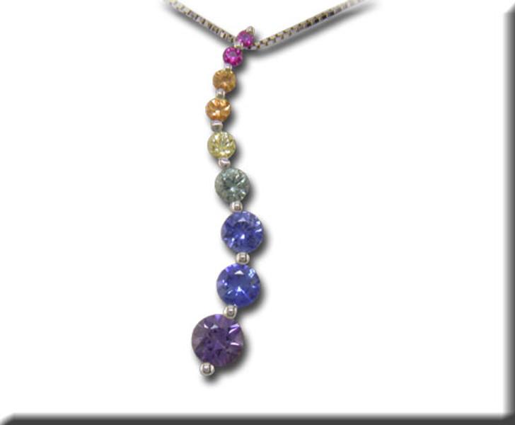Rainbow Sapphire Multi Color Journey Pendant 14K White Gold