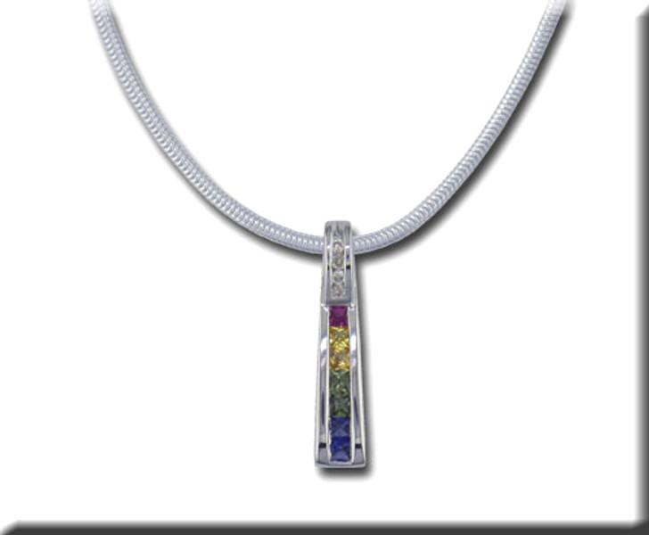 Rainbow Sapphire & Diamond Bar Pendant 14K White Gold