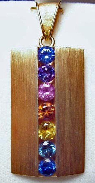14K Custom Made Montana Sapphire Rainbow Pendant