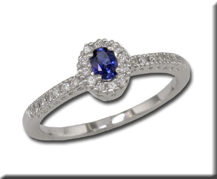Montana Yogo Sapphire & Diamond Halo Ring