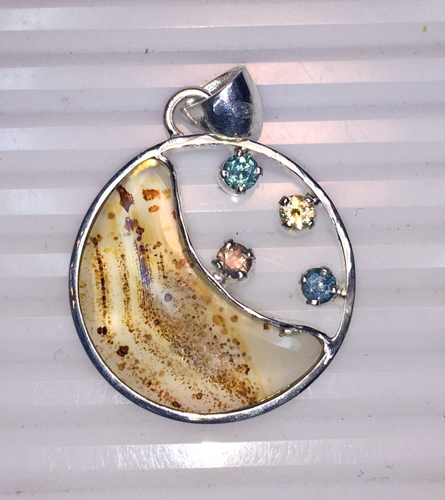 Montana Sapphires and Montana Agate Moon Sterling Silver Pendant Multi Color