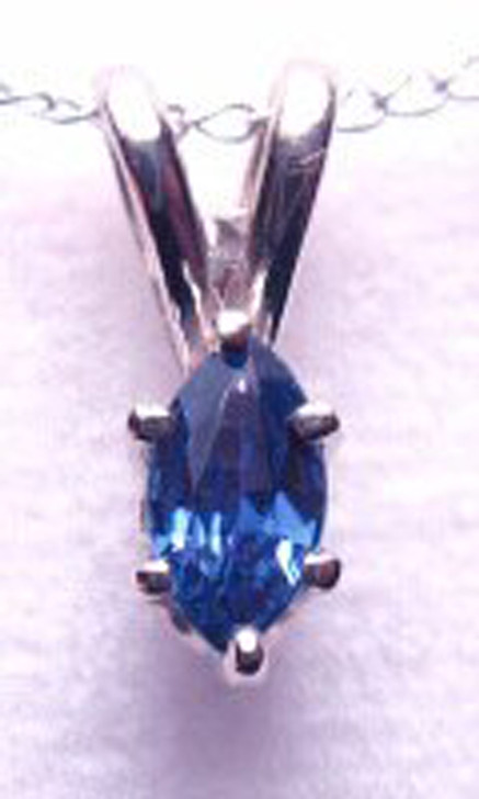 Montana Yogo Sapphire 14K White Gold Marquise Pendant