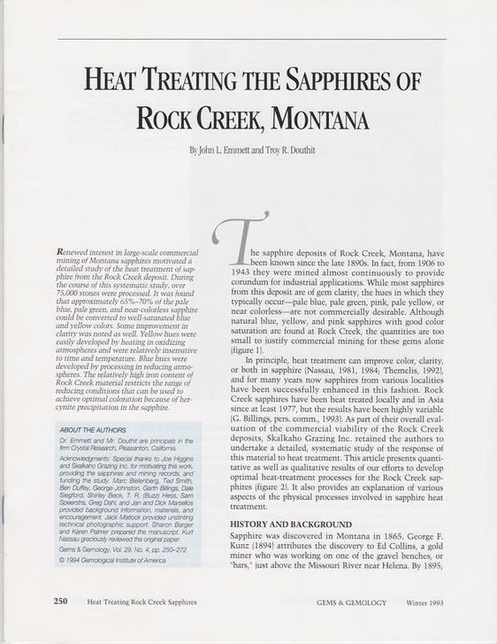 Montana Sapphire Heat Treating Pamphlet