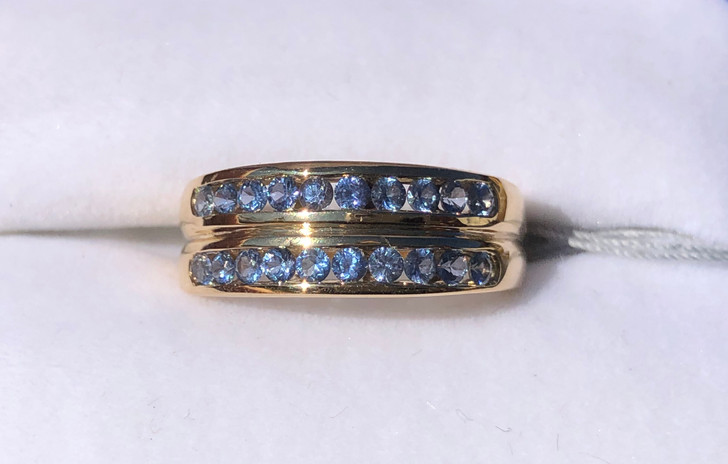 Montana Yogo Sapphire Double Row Channel Set Ring .86 ct yellow gold