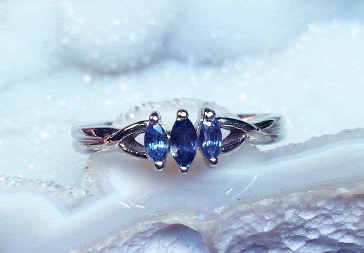 Montana Yogo Sapphire 3 Stone Marquise Ring .24 ct