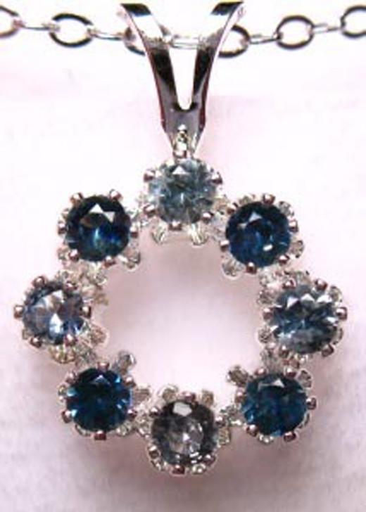 Montana Sapphire 2.25mm 8 stone circle pendant blue