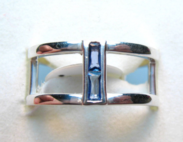 Montana Yogo Sapphire Baguette Negative Space Silver Ring
