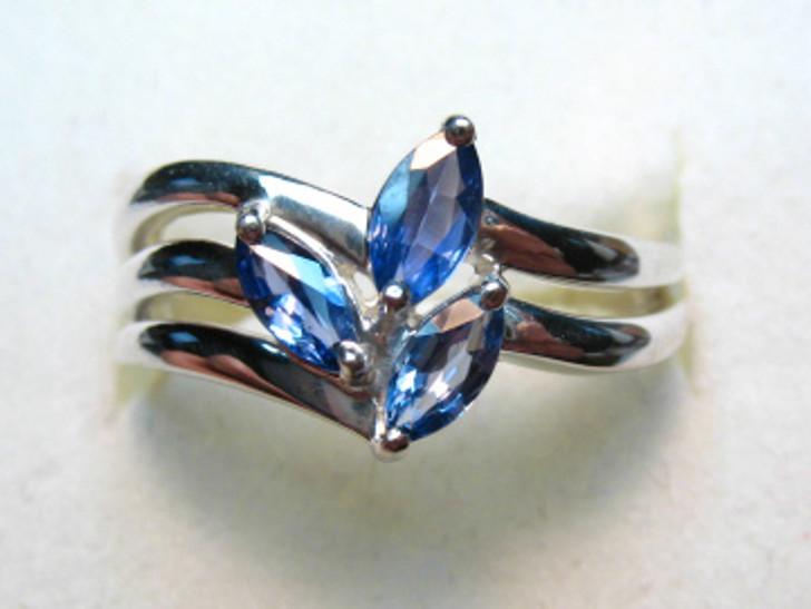 Montana Yogo Sapphire 3 Stone Marquise Silver Ring